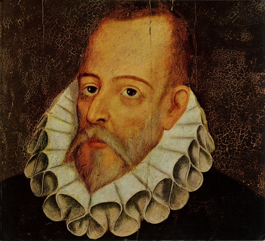 TPG108073 Portrait of Miguel de Cervantes y Saavedra (1547-1615) by Jauregui y Aguilar, Juan de (c.1566-1641); Private Collection; Spanish,  out of copyright